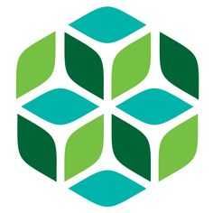 Gardner Design - Refined Technologies logo design. Within a simple hexagon, leaf and flower petal shapes are broken out to represent the company's cleaning technologies. Colors: dark green, green, blue.