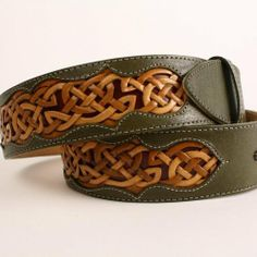 This handmade leather belt celtic belt green belt or tooled belt whatever you may call it is a one of a kind design The centuries old mystery and mastery of Leather Carving, Leather Art, Leather Design, Green Leather, Leather Dog Collars, Leather Belts, Leather Tooling, Leather Jewelry, Leather Projects