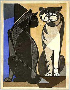 Tomoo Inagaki: Chatting cats, 1956.