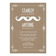 Moustache Love Vintage Kraft Paper Gay Wedding Custom Invitation by fatfatin