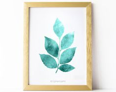 Printable wall art, Digital art print, Bedroom decor, Leaves art print, Bathroom wall art, Teal print, Teal wall art, PRINTABLE home decor