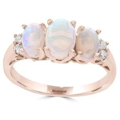 Effy Diamond and Three-Opal Ring ($1,300) ❤ liked on Polyvore featuring jewelry, rings, rose gold, 14 karat gold ring, opal rings, polish jewelry, diamond jewellery and 14k ring
