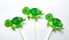 Turtle Cupcake Toppers - Turtle Birthday - Turtle Baby Shower - Under The Sea Cupcake Toppers - Boy Turtle by CraftyCue on Etsy Turtle Birthday Parties, Turtle Party, Birthday Ideas, Cute Turtles, Baby Turtles, Small Gift Bags, Small Gifts, Sea Cupcakes, Sea Turtle Cupcakes