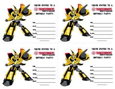 printable transformers birthday party invitations You are Invited