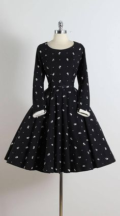 1950's Black Wool Skater Dress