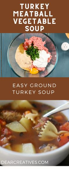 This is an easy ground turkey soup to make. Kid-friendly, hearty, and healthy! Make th turkey meatballs, make the vegetable soup, combine and serve. This homemade soup recipe is made in 1 hour including prep time! 6 servings, left-overs are easy to reheat for smaller sized families. #turkeymeatballsoup #turkeysouprrecipe #turkeymeatballsouprecipe #turkeymeatballvegetablesoup #easygroundturkeysoup #easy #homemadesouprecipe #souprecipes #healthy #soup #delicious #dearcreatives #souprecipes Turkey Meatball Soup, Turkey Meatballs, Chili Recipes, Soup Recipes, Ground Turkey Soup, Recipe R, Homemade Soup, Healthy Soup, Stew
