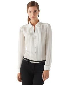 Womens Silk Tuxedo Pleat Blouse by White House Black Market White Outfits, Work Attire, Tuxedo, Passion For Fashion, Clothes For Women, My Style, Formal Blouses, Silk Touch, Band Photos