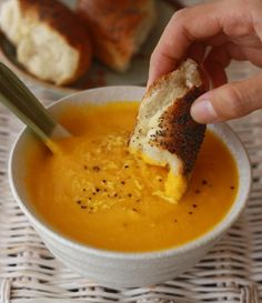 healthy carrot soup recipe with a hint of ginger.  So good and so good for you.