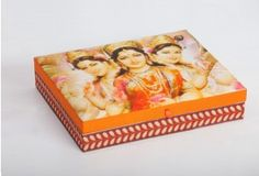 "Maa Lakshmi Box by The Charcoal Project    Product Information  Size: 10"" X 8"" X 2""  Material: Cotton with Digital Print  Color: Saffron"