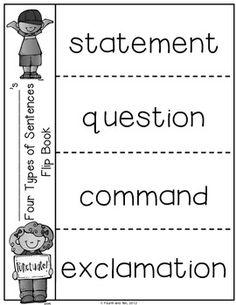 Sentence type flip book
