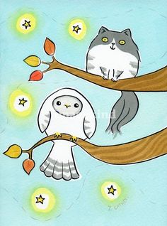 Owl and Kitty Cat in Autumn Tree by Amble & Sing