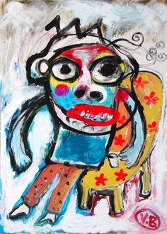 """""""Me ha venido muy bien psicológicamente este vaso de agua"""" de Victoria Barranco @ VirtualGallery.com-  Pintura acrílica sobre cartón de 50x70 cm (19.7x27.6 in). Arte marginal. Hombre sentado con vaso de agua. (2015)"""