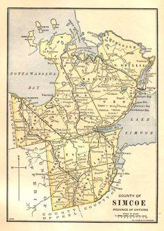 Simcoe County Township Map 1885