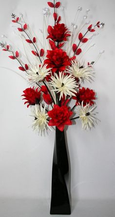 125 best artifical silk flower arrangements images on pinterest artificial silk flower arrangement red amp cream in large black vase 100cm high vase mightylinksfo