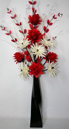 Artificial Silk Flower Arrangement Red & Cream in Large Black Vase 100cm High.