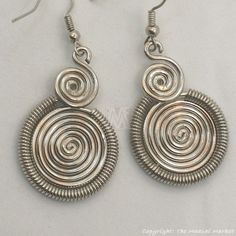 Maasai Market African Kenya Jewelry Silver Wire Two Spirals Earrings 636-25 #Handmade