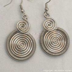 Maasai Market African Kenya Jewelry Silver Wire Two Spirals Earrings 636-25 #Handmade
