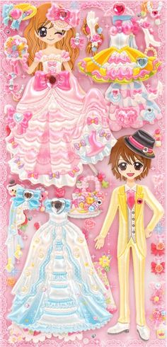 Japanese kawaii couple dress up doll puffy sponge stickers 'Wedding party' - Cute Stickers - Sticker - Stationery - kawaii shop modeS4u
