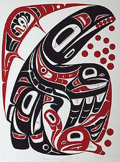 Eugene Alfred: Raven Bringing Salmon to the People. We have this hung over our mantel, left side. This print illustrates a Tlingit origin myth... the one where Raven brings Salmon to the People, IIRC. See the red salmon in the bottom right corner, and the black one in Raven's wing? And that's the Sun watching from the top left.