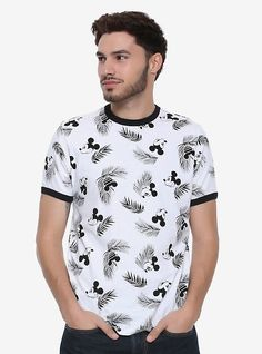 Mickey Mouse and vacation life just go together. That's why we've got this shirt to further your tropical dreams. This white ringer tee features an allover tropical Mickey Mouse print. dry lowImportedListed in men's sizes Mens Printed Shirts, Graphic Tee Shirts, Men's Shirts, High Fashion Men, Pop Fashion, White Shirt Men, White Shirts, Cool Shirts For Men, Disney Mickey Mouse