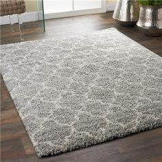 "Lofty Trellis Plush Area Rug - Gray & Ivory - 7'10"" x 10'10"" $649 - polypropylene -  shadesoflight.com"