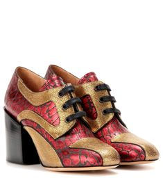 DRIES VAN NOTEN Printed And Metallic Leather Derby Pumps. #driesvannoten #shoes #pumps