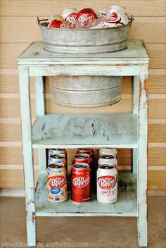 DIY Drink Station from a thrift store side table. Includes a tutorial on how to achieve the weathered paint finish.
