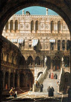 Canaletto, Venise, le Palais des Doges et l'escalier des Géants. Vers 1744. Huile sur toile, 43 x 31 cm. Collection particulière © Private collection
