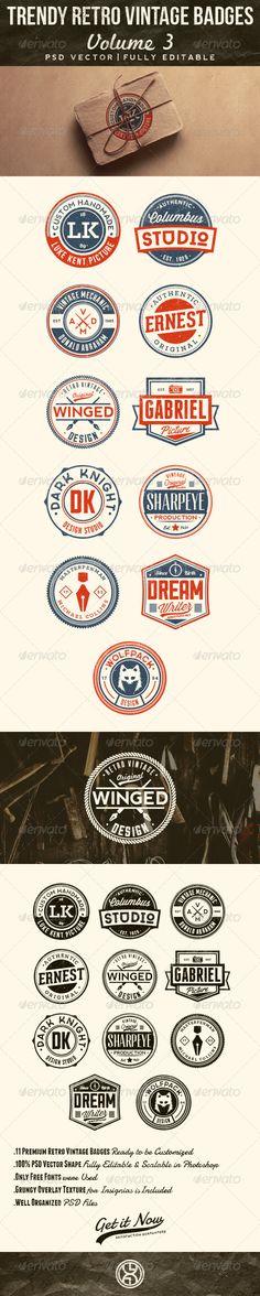 Trendy Retro Vintage Badges Volume 3