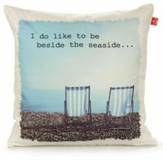 Worthing Deckchairs Blue & White Cushion - B&Q for all your home and garden supplies and advice on all the latest DIY trends Seaside Style, Coastal Style, Coastal Decor, Diy Cushion, Coastal Bedding, White Cushions, Home Comforts, Eclectic Style, Inspired Homes