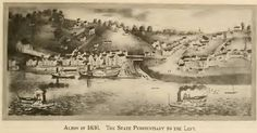 Alton, Illinois in 1836. The State Penitentiary to the left.