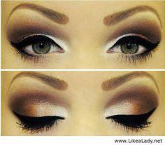 Stunning Bronze Eye Makeup Idea for Green Eyes