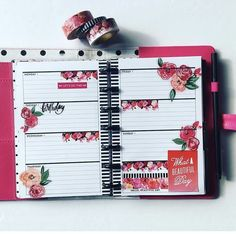 Flowers Mini Happy Planner, Cute Planner, Planner Layout, Goals Planner, Planner Pages, Printable Planner, Planner Ideas, Printables, Washi Tape Planner