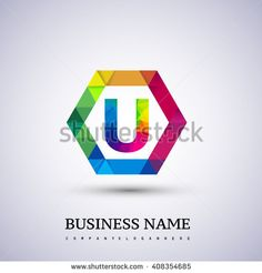 U letter colorful logo in the hexagonal. letter U icon design with polygonal style. Vector design template elements for your application or company logo identity. - stock vector
