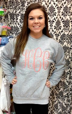 Intertwined Large Monogram Sweatshirt by Elizabs on Etsy Size medium:  https://www.etsy.com/listing/123765393/intertwined-large-monogram-sweatshirt