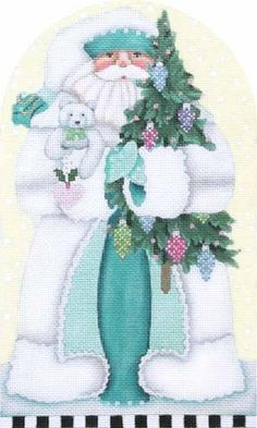 Melissa Shirley Designs | Hand Painted Needlepoint | Winter White Santa Dome