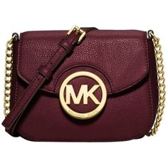 Pre-owned Michael Kors Solid Mini Leather Chain Handbag Red Merlot... ($155) ❤ liked on Polyvore featuring bags, handbags, shoulder bags, merlot, michael kors crossbody, red leather handbag, mini crossbody purse, leather crossbody purse and crossbody purse