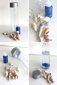 Bottle summer beach and ocean activity for kids ocean bottle, toddler beach Ocean Activities, Infant Activities, Activities For Kids, Spanish Activities, Baby Sensory, Sensory Bins, Sensory Wall, Sensory Boards, Sensory Rooms