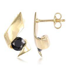 Boucles d'oreilles style origami serties de Spinelles noires - Bijou en vermeil - Juwelo bijouterie en ligne Origami, Cufflinks, Inspiration, Accessories, Style, Black Spinel, Gold Jewelry, Black Colors, Ears