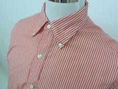 Austin Reed London Oxford Button Down Dress Shirt Pink/White Stripes Large #austinreedlondon