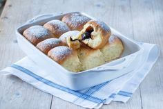 Typical czech buns with plum jam.