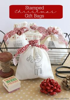 Stamped Christmas Gift Bags::Bloggers Best 12 Days of Christmas | Neighbor Gift ideas