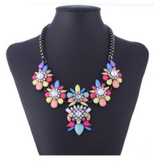 Black Chain Resin Flower Beaded Y Bib Statement Choker Necklace