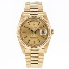 Rolex Day Date President 18238 18k Yellow Gold Watch for Men Double Q/S #Rolex #LuxurySportStyles