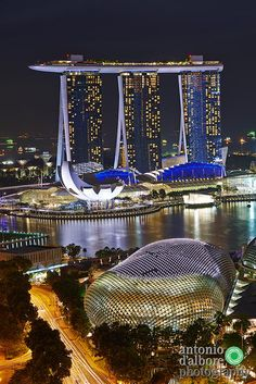 Photograph Marina Bay Sands and Esplanade By Night. by Antonio D'Albore on 500px