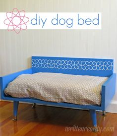 DIY Mod-Style Dog Bed using scrap wood and cool legs {writtenreality.com} #dogbed #mod #DIY