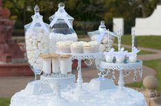 all white wedding candy buffet