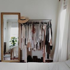 Make a dressing room, a wardrobe and a large baroque mirror - Heather Heineman Closets Small Closet Design, Small Closet Storage, Bedroom Closet Storage, Small Closets, Hidden Storage, Minimalist Closet, Minimalist Apartment, Deco Studio, Cool Apartments