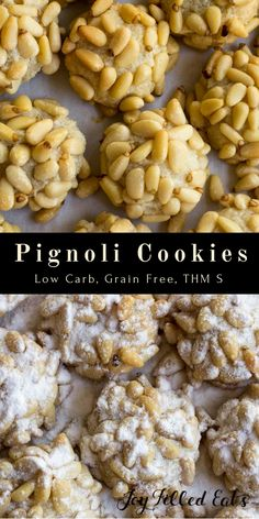 Pignoli Cookies - Low Carb, Grain/Gluten/Sugar Free, THM S. Pignoli Cookies are a slightly sweet, chewy cookie made from almond paste and covered with pine nuts. via @joyfilledeats Pignoli Cookies, Low Carb Bars, Vegan Protein Bars, Almond Paste, Sugar Free, Cereal, Grains, Corn Flakes, Breakfast Cereal