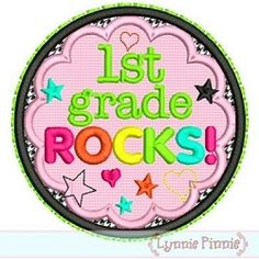 1st Grade Rocks Applique - 3 Sizes! | back-to-school | Machine Embroidery Designs | SWAKembroidery.com Lynnie Pinnie